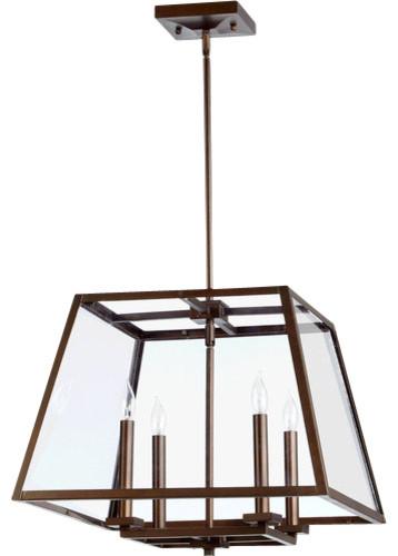 Quorum Lighting 6104-4-86 Kaufmann Pendant Light, Oiled Bronze.