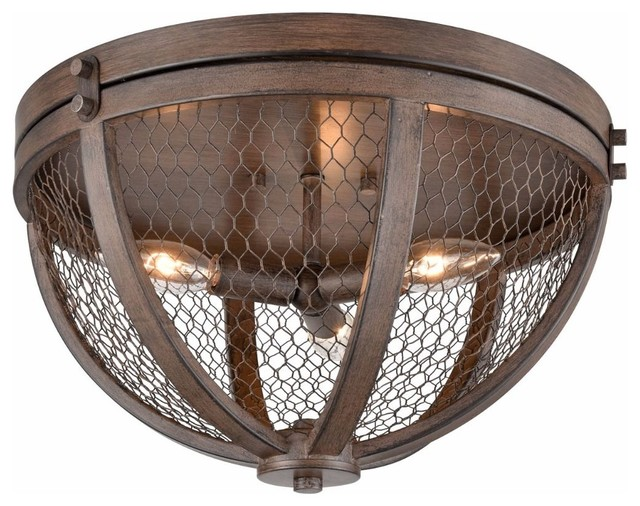 Flush Mount 3 Light Wood Grain Ceiling