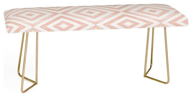 Deny Designs Little Arrow Design Co Watercolor Diamonds In Pink Bench.