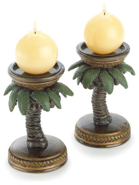 Koehler Home Decor Tropical Palm Tree Candle Holders