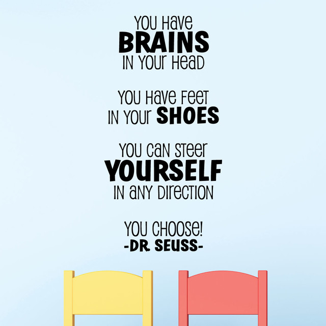 Brains dr seuss playful wall quotes decal contemporary wall brains dr seuss playful wall quotes decal black gumiabroncs Choice Image