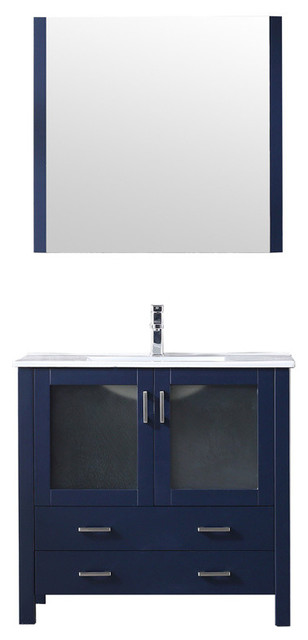 "Volez 36"" Single Vanity Navy Blue, Integrated Top,Integrated Square Sink&34""Mir"