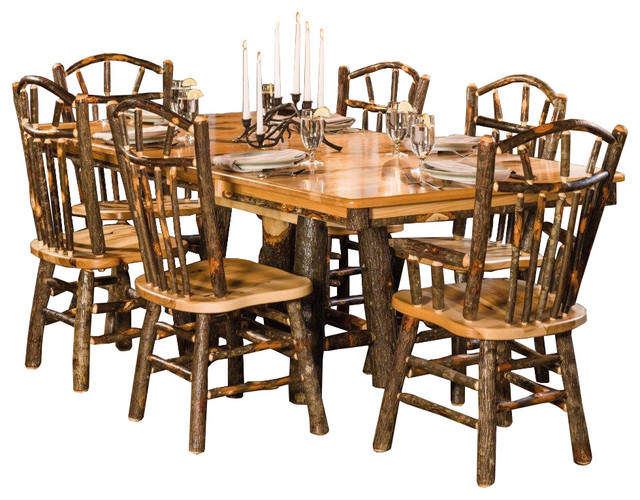 Rustic Trestle Dining Table With 6 Wagon Wheel Chairs Rustic