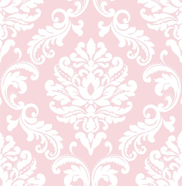Modern Damask Peel And Stick Wallpaper Pink White 4 Rolls