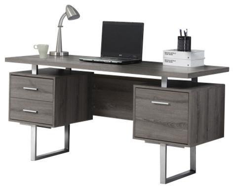 60 Silver Metal Computer Desk Dark Taupe