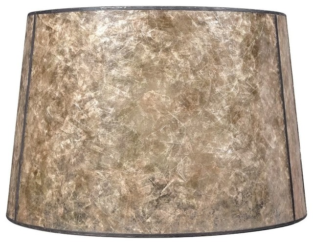 Blonde Mica Drum Lamp Shade With Bronze Spider Embly
