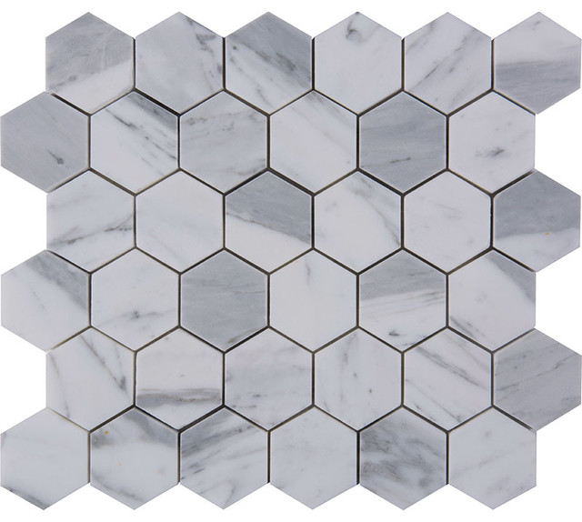 12 Quot X12 Quot Italian Statuario Venato Mosaics Polished Hexagon