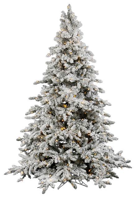 Flocked Utica Fir Tree, 12', Warm White Led Lights