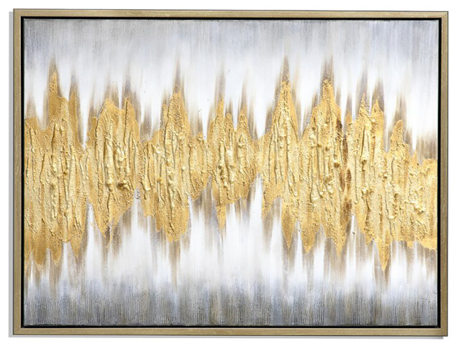 """Gold Wave Abstract Hand Painted Art, 40x50"""""""