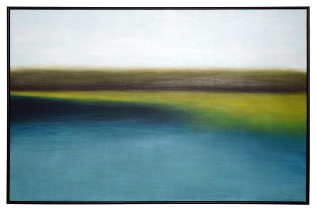 """""""Wetlands"""" Painting With Black Floater Frame, 48""""x72"""""""