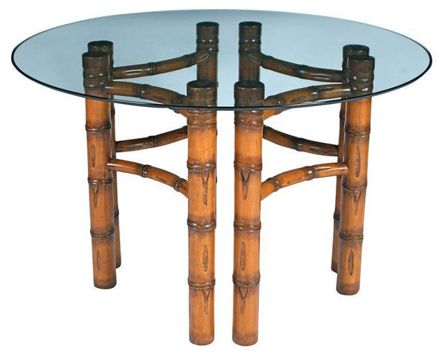tropical furniture dining room round glass top bamboo table est retail style