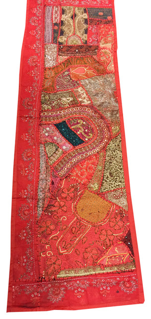vintage sari bohemian tapestry Indian tapestry patchwork wall hanging or table runner