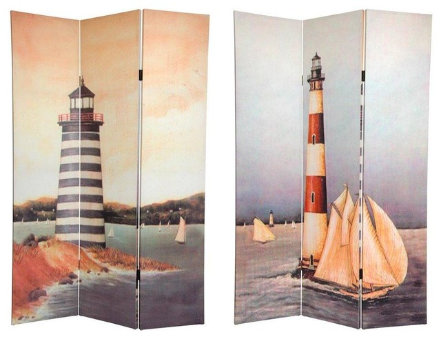6 Tall Double Sided Lighthouses Canvas Room Divider Beach Style