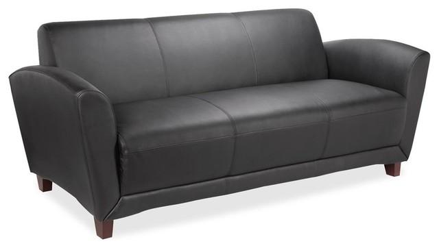 Lorell Bonded Reception Sofa, 75 X 34.5 X 31.3, Leather Black Seat.