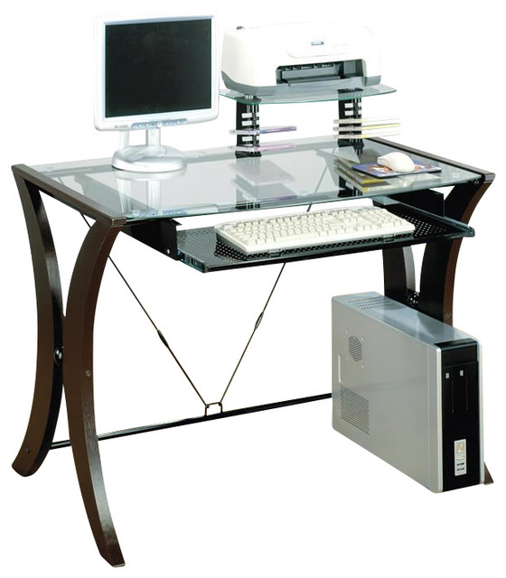 coaster division table desk with glass top in cappuccino finish - Glass Top Computer Desk
