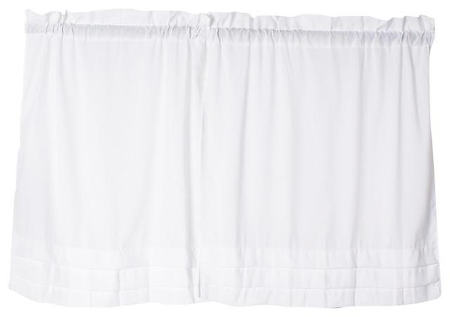 Holden Solid White Kitchen Curtain, 36 Tier.