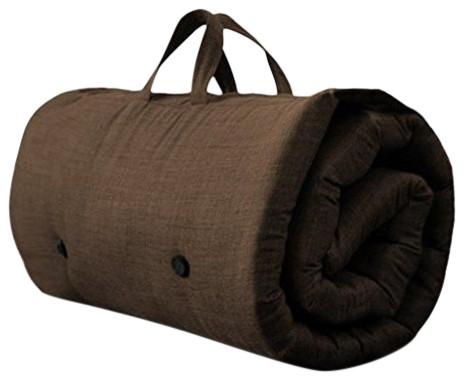 Contemporary Futon Mattress, Fabric, Handles, Chocolate