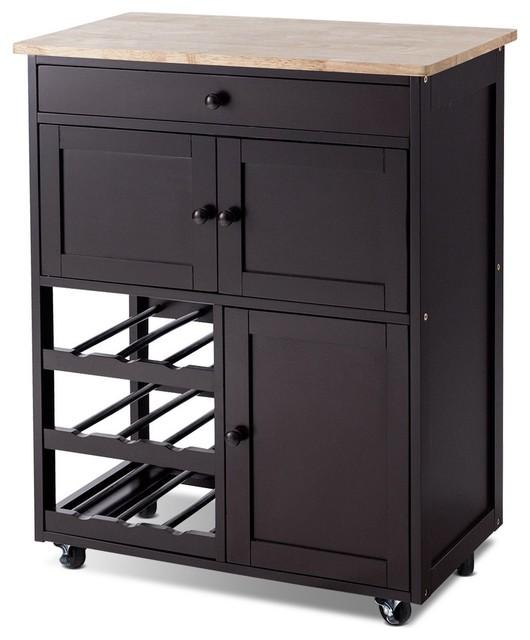 Modern Rolling Storage Kitchen Cart With Drawer, Brown