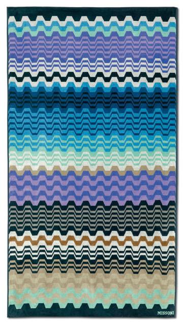 Lara Beach Towel, Multi Blue.
