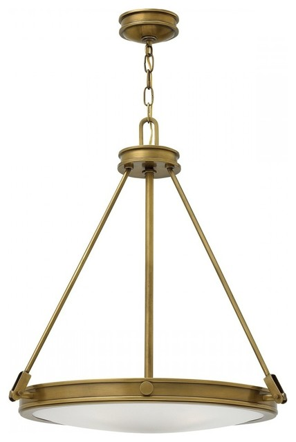 Tri-Bar 4-Light Pendant, Brass