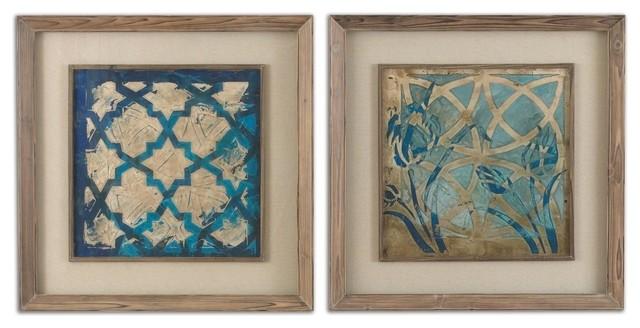Stained Glass Indigo Art, 2-Piece Set.