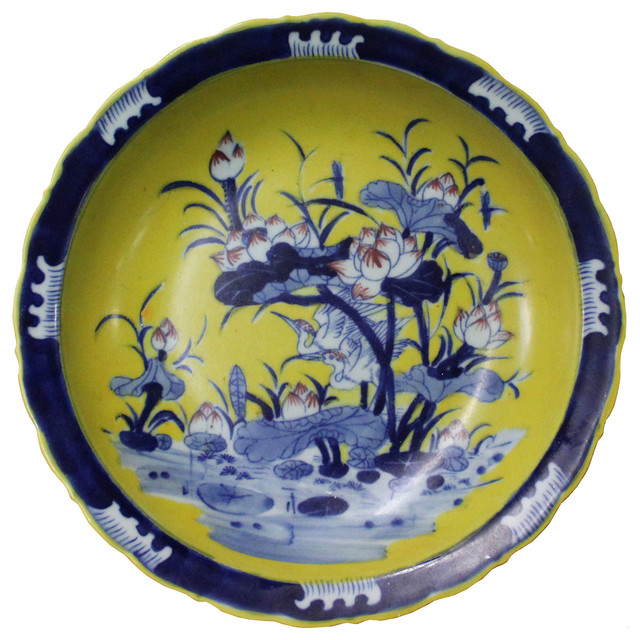 Chinese Porcelain Blue Yellow Lotus Flower Pond Decor Plate Charger cs4417