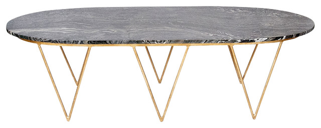 Elaine Hollywood Regency Gold White Marble Coffee Table