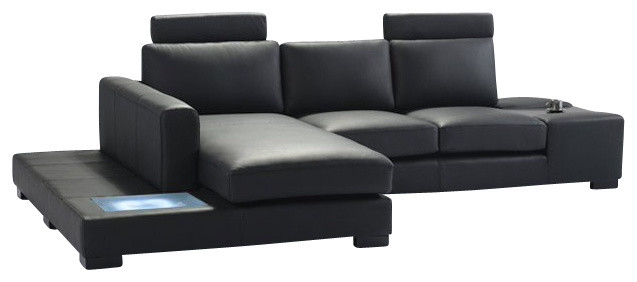 T35 Mini Black Leather Sectional Sofa With Light