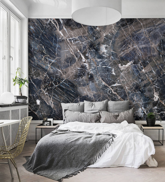 Marble Decoration: Navy Marble Wall Art Wallpaper, Peel And Stick