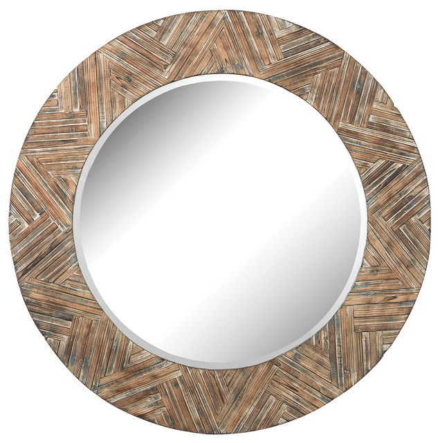 Brown Wall Mirror elk group large round wood mirror - rustic - wall mirrors -
