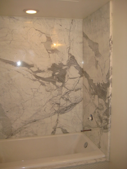 Bathroom Shower: Calcutta Gold Marble Slabs Modern