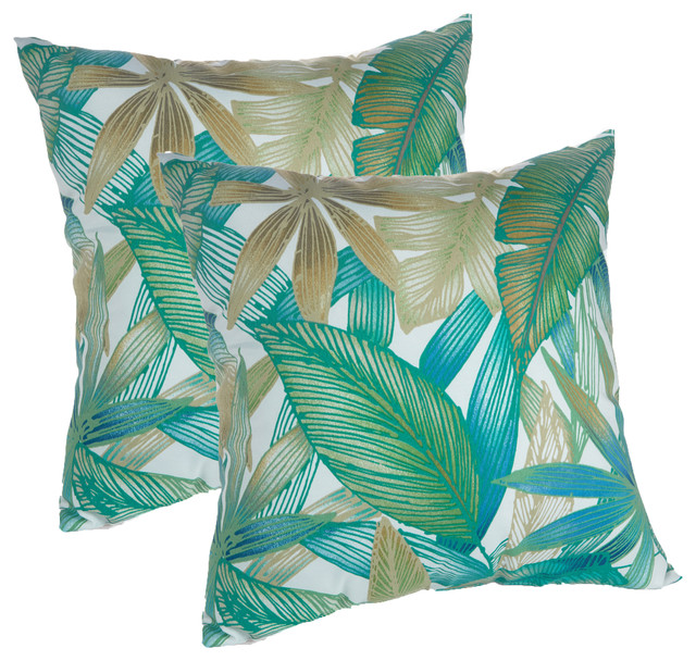 Excellent Indoor Outdoor 18X18 Tropical Leaves Print Decorative Throw Pillows Set Of 2 Ocoug Best Dining Table And Chair Ideas Images Ocougorg