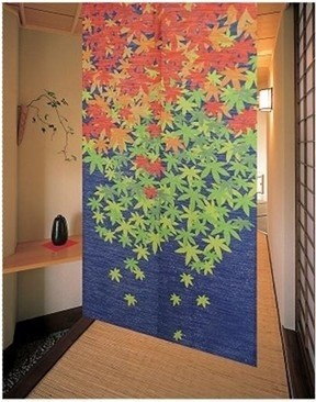 High Quality Graceful Maple Leaf Japanese Noren Door Curtain Asian