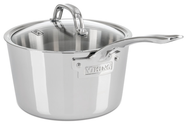 Viking Contemporary Sauce Pan, Mirror Finish, Brushed Stainless, 3 Qt..