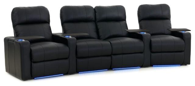 Octavius 4-Person Home Theater Seating Unit, Premium Leather, Curved Arrangement.