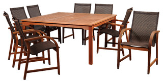 Amazonia Bahamas 9-Piece Eucalyptus Square Dining Set With Brown Sling Chair