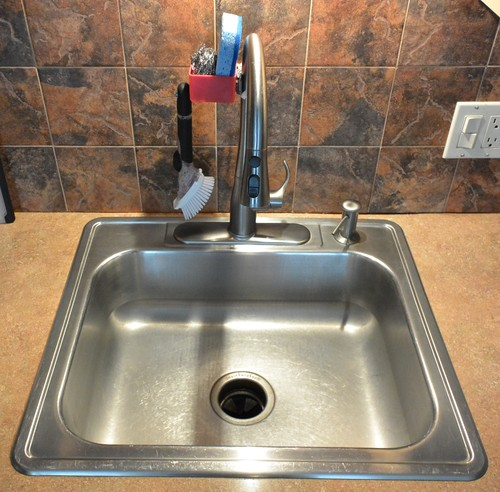 ... A Scrub Brush, And A Small Basket For Sponges, Pads, Etc.. To Install,  All You Need To Do Is Clip It To Your Faucet (with The Green Clip Shown In  The ...