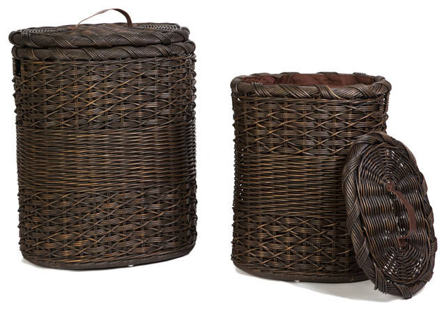 Oval Wicker Hamper, Nested Set Of 2.