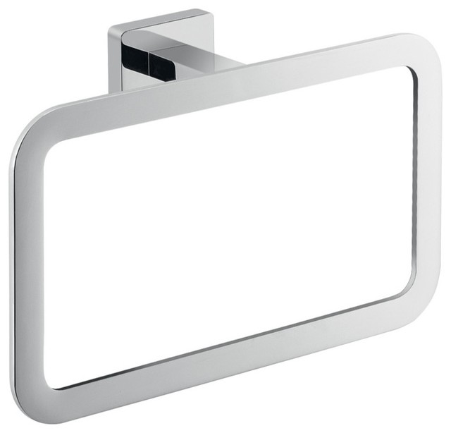 Square Wall Mounted Polished Chrome Towel Ring