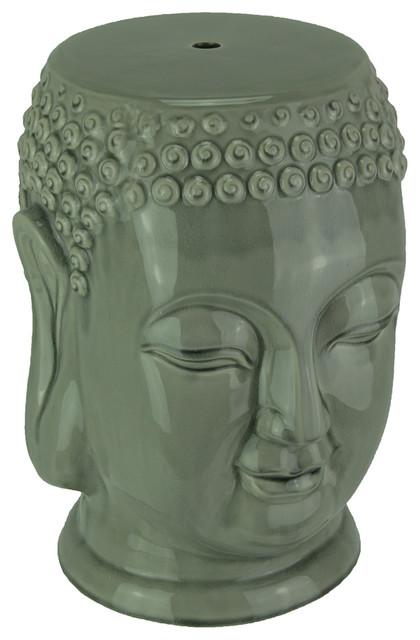 Beautiful Glossy Gray Ceramic Buddha Head Garden Stool