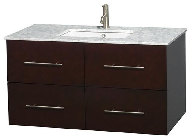 """42"""" Single Bathroom Vanity In Espresso, Marble Countertop, Undermount Sink."""