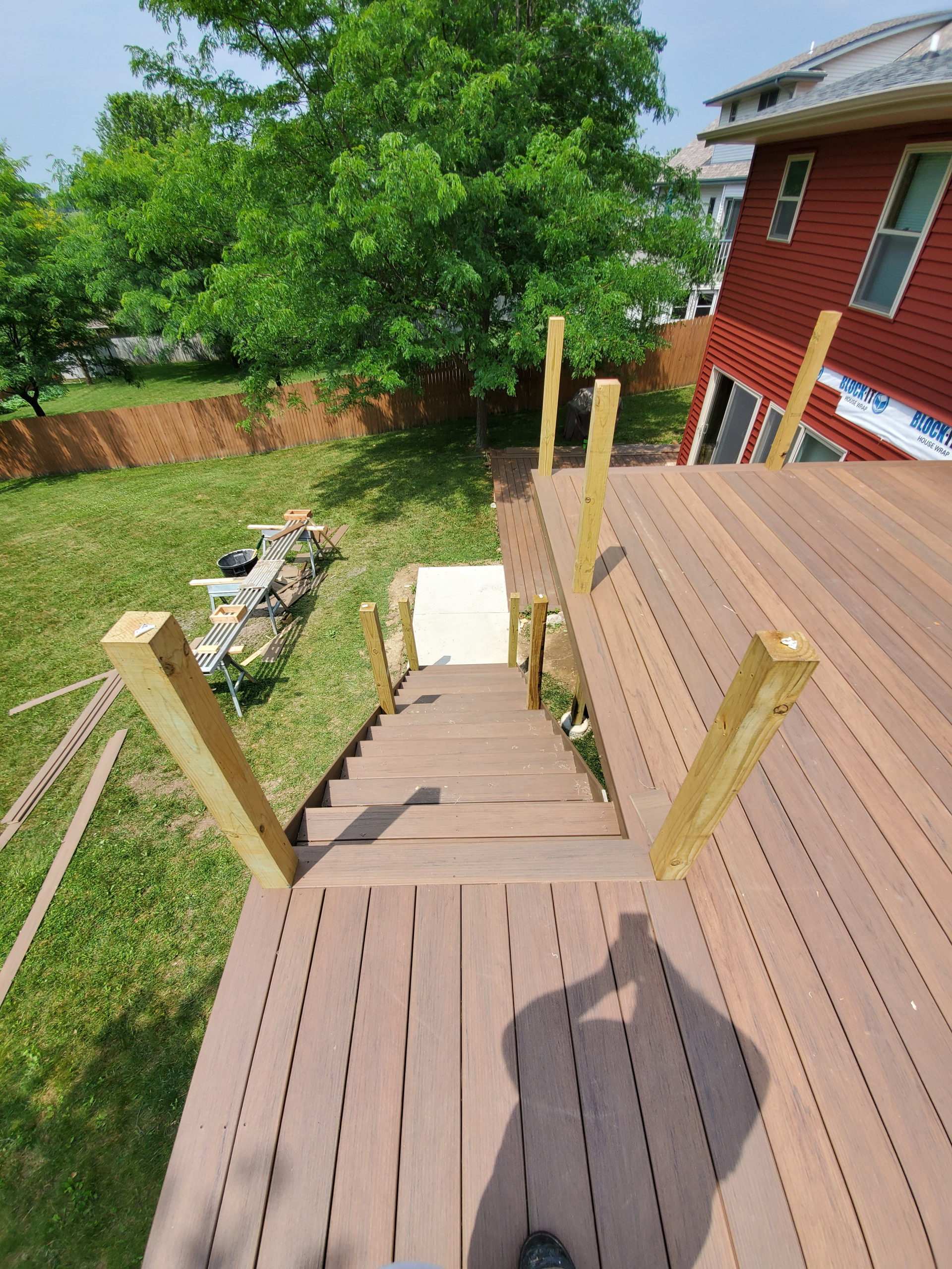 Composite deck completed before railing installation
