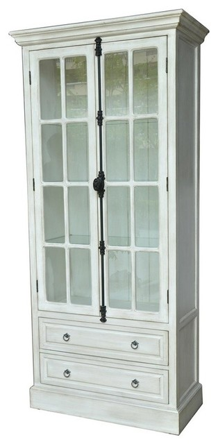 Coventry White Oak 2 Door Curio - Traditional - China Cabinets And Hutches - by Zeckos