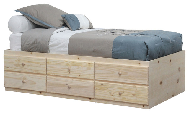twin storage bed with 6 drawers unfinished contemporary bed frames - Storage Bed Frames