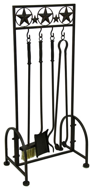 Wtern Stars Rustic Brown Metal 5 Piece Fireplace Tool Set Southwestern Fireplace Tools By