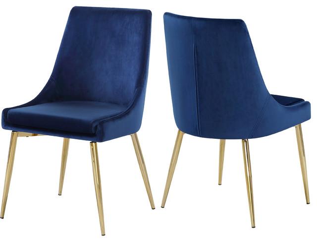 Karina Velvet Dining Chairs, Set of 2, Navy, Gold Base