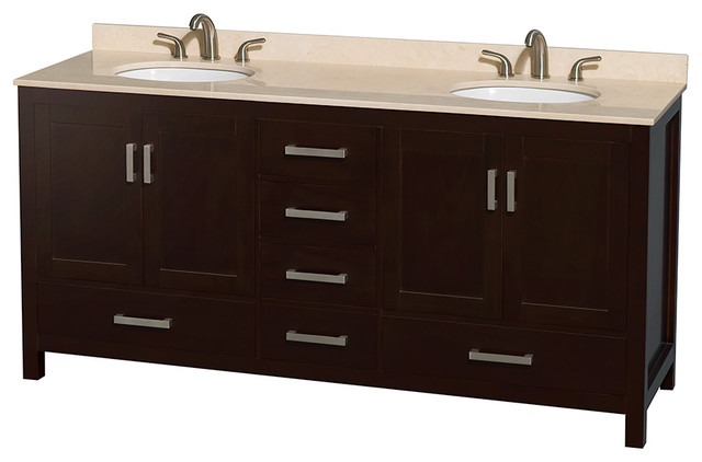 Sheffield 72 double vanity ivory marble top undermount oval sinks bathroom vanities and for Sheffield 72 double bathroom vanity