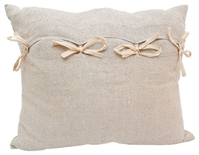 Decorative Pillows Retail : Linen Pillow with Ribbon Bow Ties - $510 Est. Retail - $359 on Chairish.com