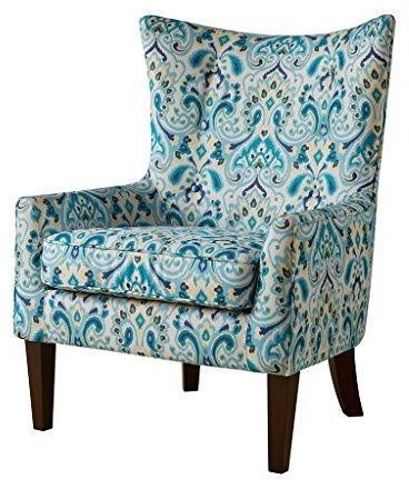 Teal Blue Green Print Upholstered Button Tufted Wingback
