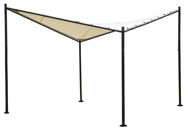 Abba Patio Steel/Polyester Fabric Square Butterfly Gazebo, 12'x12', Ecru